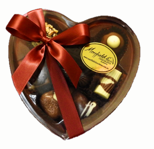 Heart Box Clear Lid 8 chocolates $19.50