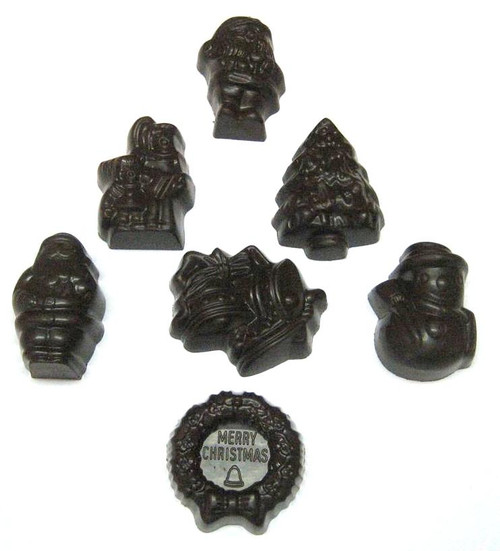 Assorted dark chocolate Christmas shapes