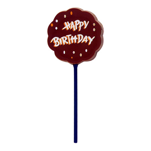 "Lollipop milk chocolate - ""Happy Birthday"" $4.00."