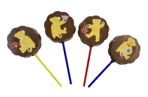 Lollipop milk chocolate - Teddy Bears(4 assorted designs) 30g $4.00ea