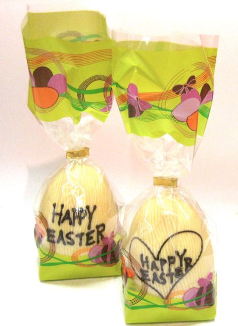 """Hollow white chocolate """"Happy Easter"""" egg 105mm high $10.90"""