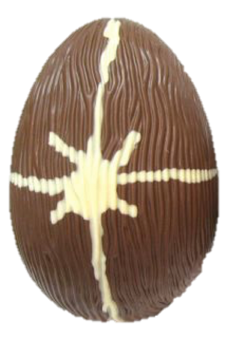 Hollow milk chocolate art egg 215mm high $35.00