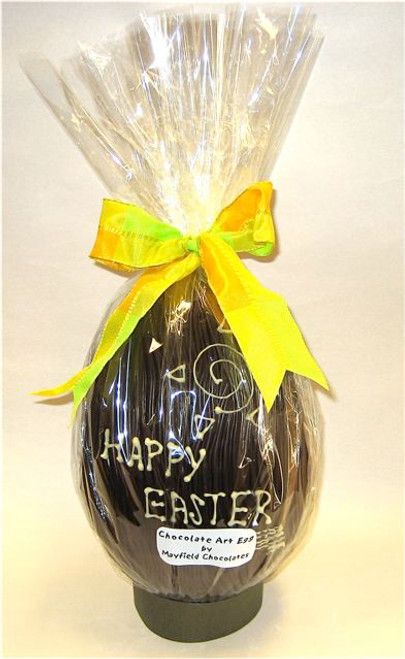 """""""Happy Easter"""" hollow dark chocolate egg 215mm high $35.00"""