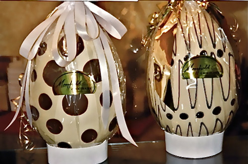 Hollow white chocolate art egg 215mm high $45.00