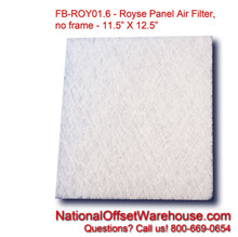 "Panel Air Filter for Royse (11-1/2"" X 12-1/2"" no frame)  - Pkg (6)"