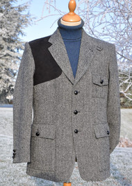 Grey Herringbone Harris Tweed Jacket