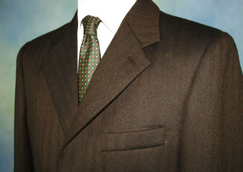 Dark Brown Herringbone Tweed Jacket