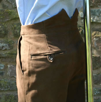 Brown Moleskin Trousers with Fish Tail Waistband