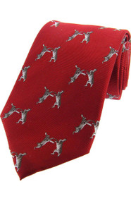 Boxing Hares Tie - Red