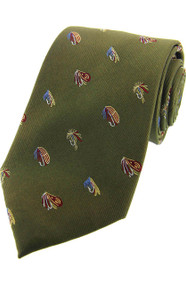 Fly Fishing Green Silk Tie