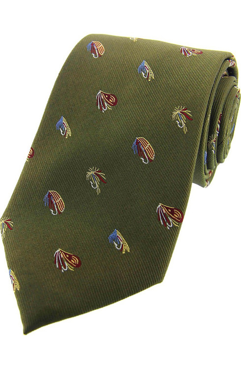 Fly Fishing Green Silk Tie