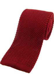 Knitted Silk Tie -  Rich Red