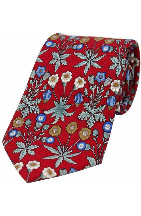 Red Silk Floral Tie
