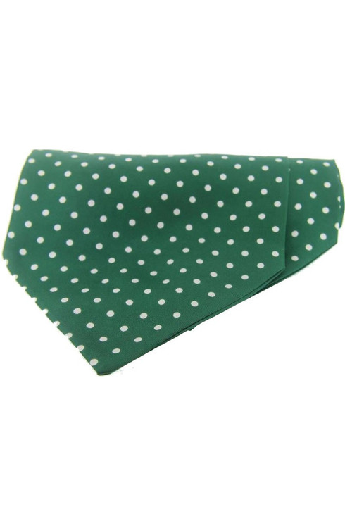 Polka Dot Silk Cravat Green