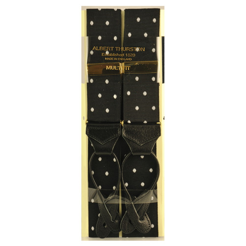Albert Thurston Luxury Button Braces Black Polka Dot