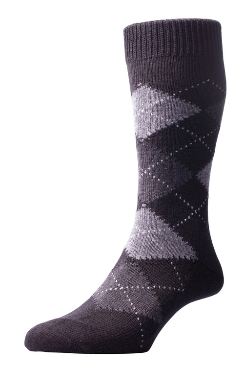Pantherella Racton Argyle Socks Navy