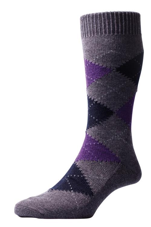 Pantherella Racton Argyle Socks Grey/Purple