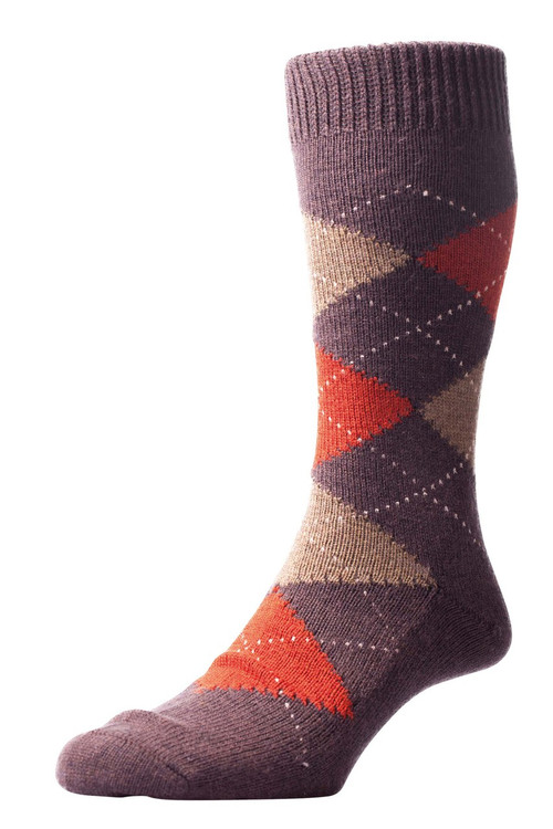Pantherella Racton Argyle Socks Brown/Red