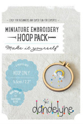 Dandelyne Miniature Embroidery Hoop   3 piece 5.5cm Embroidery Hoop set.  Embroider, cross stitch or applique, whatever you choose to do, frame it with this tiny hoop.  Contains:      5.5cm miniature embroidery hoop     2 Bolts and a screw     Backing Piece with Centre Plate.   Instructions enclosed, all you need is a wild imagination!  Easy for Beginners and Super Fun for Experts!   Price: $13.17 each