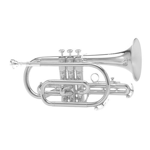 King Student Model 605WSP Cornet, Silver Plated, Wood Shell Case