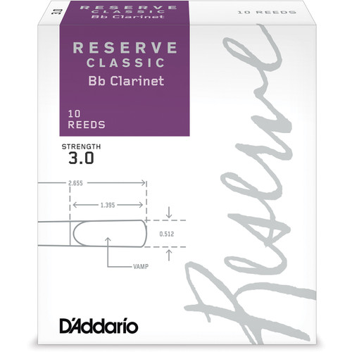 D'Addario Reserve Classic Bb Clarinet Reeds, Strength 3.0, 10-pack