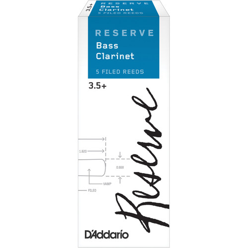 D'Addario Reserve Bass Clarinet Reeds, Strength 3.5+, 5-pack