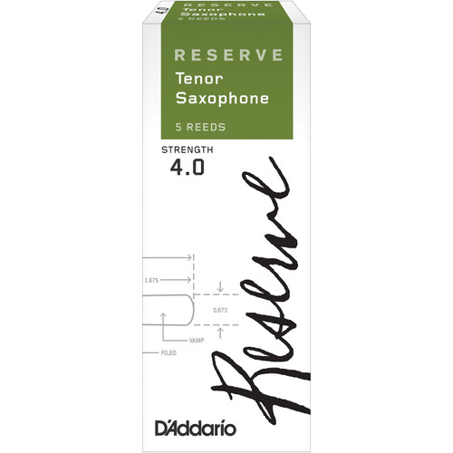 D'Addario Reserve Tenor Saxophone Reeds, Strength 4.0, 5-pack