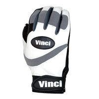 "Vinci Pro ""Number 5"" Batting Gloves White Back/Black Palm"