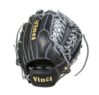 Vinco Pro 22 Series JC3333-22 Baseball Glove Mesh, Black with Grey Welting and Lace 11.5 inch