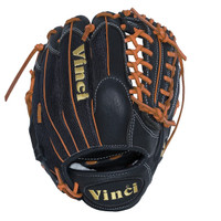 Vinci JC3333-22: 11.5 inch Baseball Glove Black with Mesh Back and Orange Lace