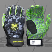 2016 Spiderz Web Digi-Camo Black/Safety Green Batting Gloves