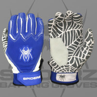 2016 Spiderz Web Royal Blue/White Batting Gloves