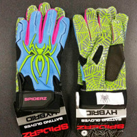 2016 Spiderz Hybrid Columbia Blue/Safety Green/Pink Batting Gloves
