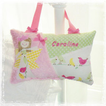 Girls Personalized Tooth Fairy Pillow - Penelope Love Birds