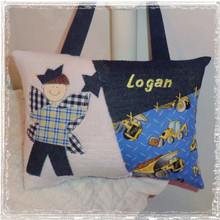 Personalized Boys Tooth Fairy Pillow - construction