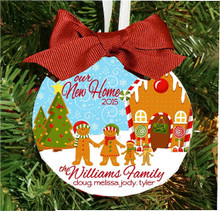 Christmas Ornament – Personalized Gingerbread Family Home with House Address, Names