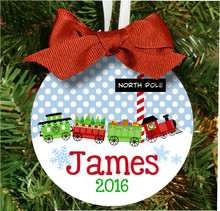 Christmas Tree Ornament - Personalized Boys Train