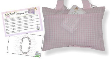 Back of Tooth Fairy Pillow with Tooth Chart and Poem - daisy mermaid