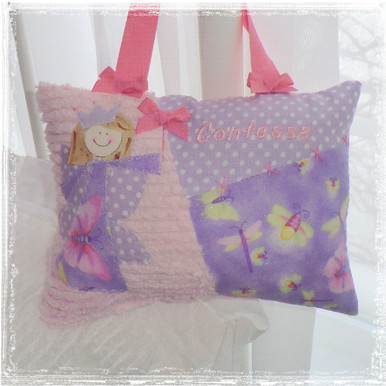 Girls Personalized Tooth Fairy Pillow - dragonflys
