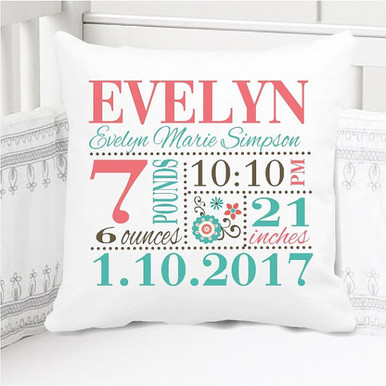 Birth Announcement Pillow - Girls teal and exotic coral - Custom Pillowcase with Pillow Insert