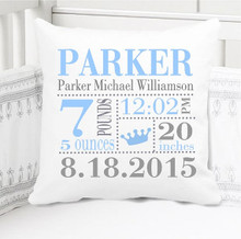 Boys Birth Announcement Pillow Personalized with Baby's Stats – Prince Crown