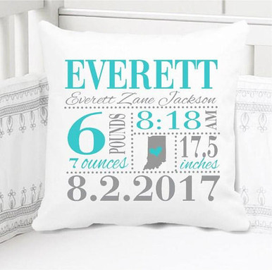 Boys Birth Announcement Pillow Personalized with Baby's Stats - Birth State Love Teal and Grey