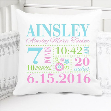 Birth Announcement Pillow - Birth Stats Pillow - Girls aqua pink lime floral nursery - Personalized Pillowcase and Pillow Insert