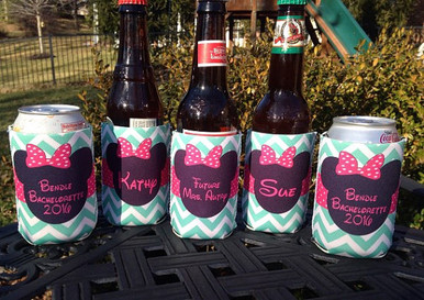 Bachelorette Coolie Koozie Personalized for Can or Bottle – Minnie Mint Pink Chevron
