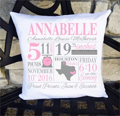 Birth Announcement Pillow - Girls pink and grey scale / ruler nursery pillow - Personalized Pillowcase and Pillow Insert