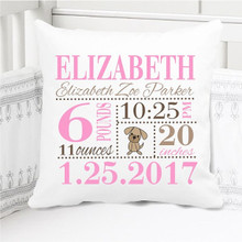 Birth Announcement Pillow - Girls pink and brown puppy nursery - Personalized Pillowcase and Pillow Insert