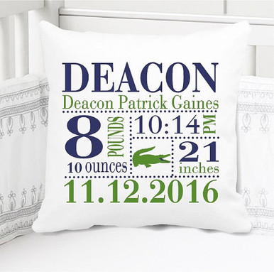 Birth Announcement Pillow - Birth Stats Pillow - Boys preppy alligator - Includes Custom Pillowcase with Pillow Insert