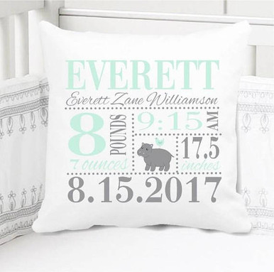 Birth Announcement Pillow - Boys happy hippo - Includes Custom Pillowcase with Pillow Insert