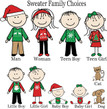 Christmas Ornament – Personalized Family with Custom Characters - Sweater Family