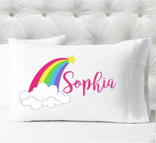 Personalized pillow case - girls rainbow - case only - pillow not included
